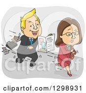 Clipart Of A Cartoon Blond White Insurance Agent Chasing After A Woman Royalty Free Vector Illustration