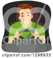 Clipart Of A Tired Brunette White Man Driving Royalty Free Vector Illustration