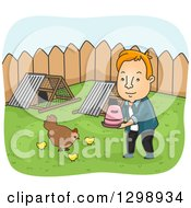 Clipart Of A Red Haired White Man Tending To Chickens In His Back Yard Royalty Free Vector Illustration