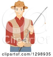 Brunette White Man Holding A Fishing Pole Wearing A Vest And Hat