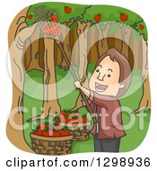Cartoon Happy Brunette White Man Picking Apples In An Orchard