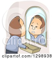 Clipart Of A Distressed Brunette White Man Going Bald Royalty Free Vector Illustration