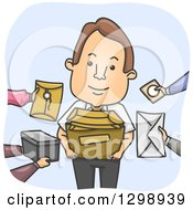 Clipart Of A Cartoon Happy Brunette White Messenger Receiving Packages And Envelopes Royalty Free Vector Illustration