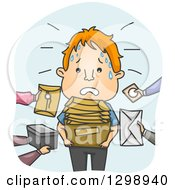 Clipart Of A Cartoon Stressed Red Haired White Messenger Receiving Packages And Envelopes Royalty Free Vector Illustration