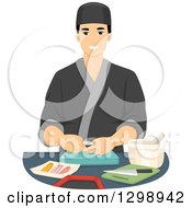 Clipart Of A Handsome Young Male Sushi Chef Royalty Free Vector Illustration