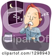 Clipart Of A Cartoon Red Haired White Man Sleep Eating Royalty Free Vector Illustration