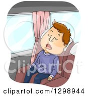 Clipart Of A Cartoon Brunette White Man Sleeping On A Bus Royalty Free Vector Illustration