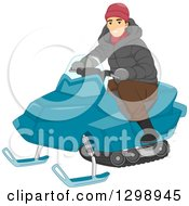Clipart Of A White Man Riding A Snow Mobile Royalty Free Vector Illustration
