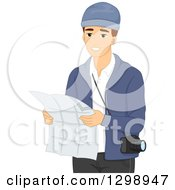 Clipart Of A Young Brunette White Male Tourist Looking At A Map Royalty Free Vector Illustration