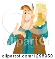 Poster, Art Print Of Happy Chubby Red Haired White Man Holding And Presenting A Boot Shaped Beer Mug