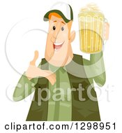 Clipart Of A Happy Chubby Red Haired White Man Holding And Presenting A Beer Mug Royalty Free Vector Illustration