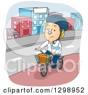 Clipart Of A Cartoon Blond White Man Riding A Bicycle With A Basket Through A City Royalty Free Vector Illustration