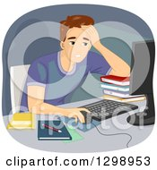 Clipart Of A Tired Brunette White Man Working Or Studying Online Royalty Free Vector Illustration