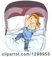 Clipart Of A Cartoon Red Haired White Man Moving In His Sleep Royalty Free Vector Illustration