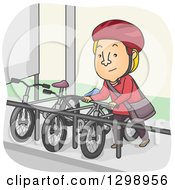 Clipart Of A Cartoon Blond White Man Parking His Bike At A Rack Royalty Free Vector Illustration