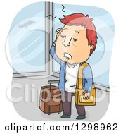 Clipart Of A Cartoon Exhausted Red Haired White Man In An Airport Royalty Free Vector Illustration by BNP Design Studio