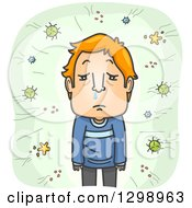 Clipart Of A Cartoon Red Haired White Man With A Runny Nose Being Attacked By Viruses Royalty Free Vector Illustration