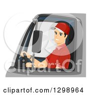 Happy Young Male Delivery Truck Driver