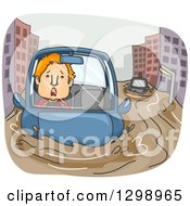 Clipart Of A Cartoon Red Haired White Man Driving In A Flooded City Royalty Free Vector Illustration by BNP Design Studio