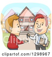 Clipart Of A Cartoon Happy White Male Realtor Giving A House Key To A Client Royalty Free Vector Illustration