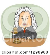 Clipart Of A Mad White Male Judge In A Wig Banging A Gavel And Shouting Royalty Free Vector Illustration