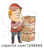 clipart of a cartoon red haired white male inventory checker with boxes royalty free vector illustration - Inventory Checker