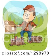 Clipart Of A Cartoon Brunette Male Lumberjack Resting On A Stump By A House Royalty Free Vector Illustration by BNP Design Studio