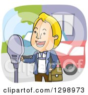 Cartoon Blond White Man Paying Parking Fees At A Meter