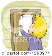 Clipart Of A Rear View Of A Cartoon Blond White Man Putting A Notice On His Door Royalty Free Vector Illustration