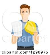 Young Brunette White Man Deciding To Pursue Chef Or Construction