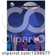 Clipart Of A Ufo Flying Over A City At Night Royalty Free Vector Illustration
