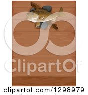 Clipart Of A Fish Mounted On A Wood Wall Royalty Free Vector Illustration