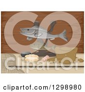 Clipart Of A Statue Made Of Stuffed Fish With Shells And Gear Over Wood Royalty Free Vector Illustration by BNP Design Studio