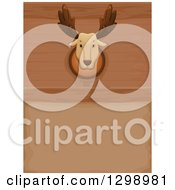 Clipart Of A Taxidermy Mounted Moose Head On A Wood Wall Royalty Free Vector Illustration