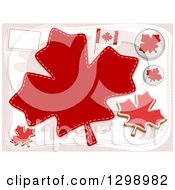 Clipart Of Canadian Flags Pins And Maple Leaves Royalty Free Vector Illustration by BNP Design Studio