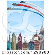 Clipart Of An Aviation Show Over A Celebrating City Royalty Free Vector Illustration