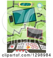 Clipart Of A Control Room With Monitors And A Console Royalty Free Vector Illustration