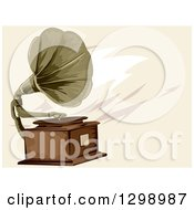 Clipart Of A Vintage Gramophone Over Tan Royalty Free Vector Illustration by BNP Design Studio