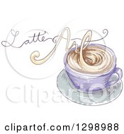 Clipart Of A Sketched Coffee Cup With Latte Art Text Made Of Steam Royalty Free Vector Illustration