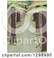 Clipart Of A Dark Wooded Area With Tall Pine Trees Royalty Free Vector Illustration by BNP Design Studio