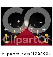 Clipart Of A Red Carpet And Posts Leading To A Door Way With Flashes Of Cameras In The Dark Royalty Free Vector Illustration