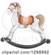 Clipart Of A White Rocking Horse Royalty Free Vector Illustration