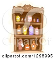 Clipart Of A Cabinet Of Essential Oils Royalty Free Vector Illustration by BNP Design Studio