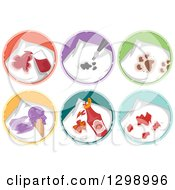 Clipart Of Wine Ink Mud Dairy Ketchup And Blood Stains On Laundry Round Icons Royalty Free Vector Illustration