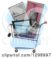 Clipart Of A Shopping Cart Filled With Appliances And Electronics Royalty Free Vector Illustration