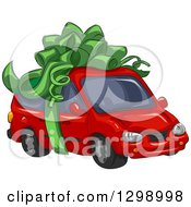 Clipart Of A Red Minivan Wrapped With A Big Green Bow Royalty Free Vector Illustration