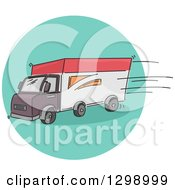 Clipart Of A Sketched Delivery Truck On A Turquoise Circle Royalty Free Vector Illustration by BNP Design Studio