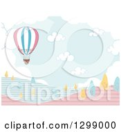 Clipart Of A Hot Air Balloon Over Hills With Blue And Yellow Trees Royalty Free Vector Illustration by BNP Design Studio
