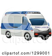 Clipart Of A White And Blue Ambulance Royalty Free Vector Illustration by BNP Design Studio
