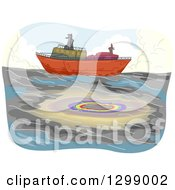 Clipart Of A Cargo Ship And Oil Spill Royalty Free Vector Illustration by BNP Design Studio
